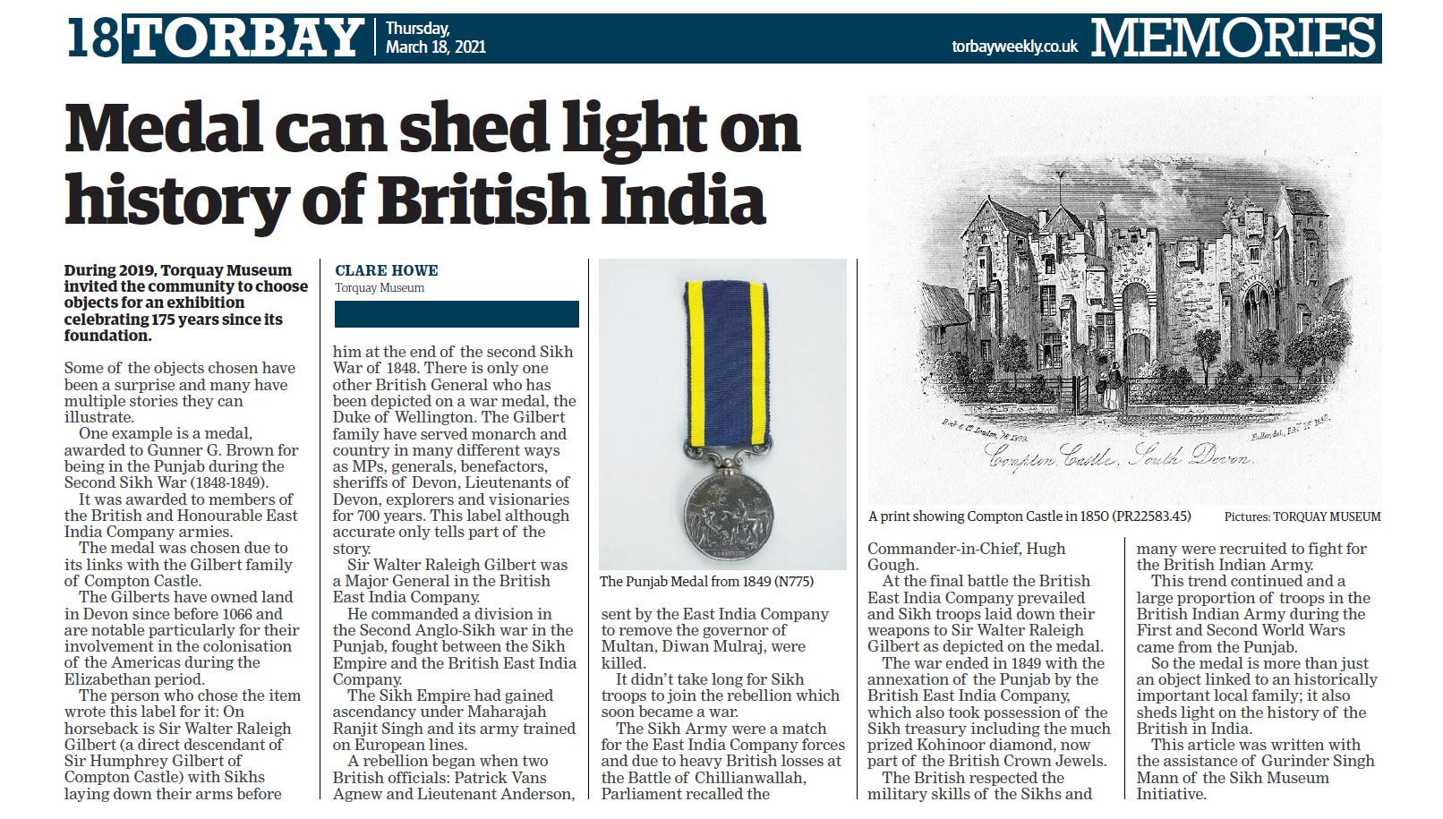 Torbay Museum sheds light on Anglo Sikh Wars medal